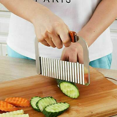 £4.48 • Buy Stainless Steel Potato Chip Salad Vegetable Crinkle Cutter Kitchen Cutting Tool