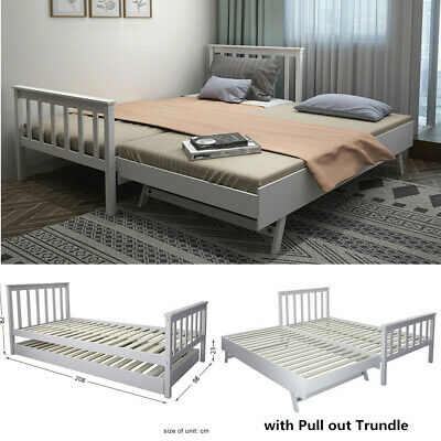 £156.99 • Buy Grey 3ft Single Day Bed With Trundle Bed Guest Solid Frame Daybed Sofa Bedstead