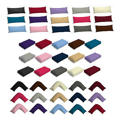 £1.99 • Buy Luxury Poly Cotton Pillowcases Oxford V Shaped Box Bolster Pillow Case Covers