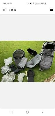 £75 • Buy Quinny Buzz Black 3 Wheel Travel System Pram With Car Seats And Carrycot