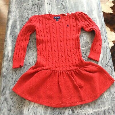 £18 • Buy Ralph Lauren Polo Girls Red Knitted Long Sleeve Dress Age 4 Years