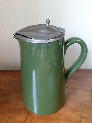 £4.99 • Buy Antique Victorian Jug With Pewter Lid - Green Pottery