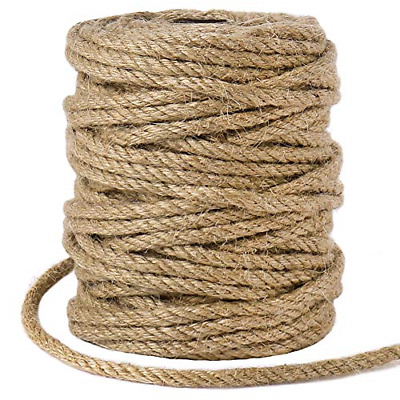 £12.81 • Buy 5mm Jute Rope, 98 Feet Natural Twisted Jute Macrame Cord For Garden, Gifts, DIY
