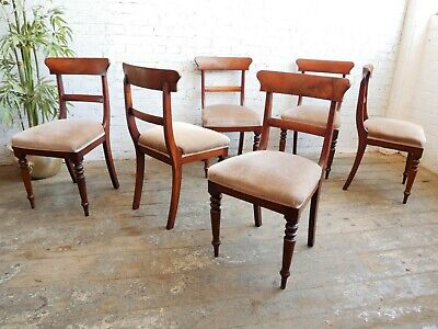 £299.99 • Buy 6 Antique Georgian Early Victorian Upholstered Mahogany Bar Back Dining Chairs