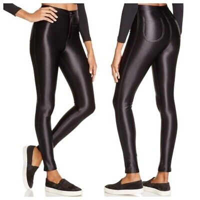 £18.80 • Buy AMERICAN APPAREL High Rise DISCO PANTS Shiny Faux Leather BLACK-LARGE Fit 6-8