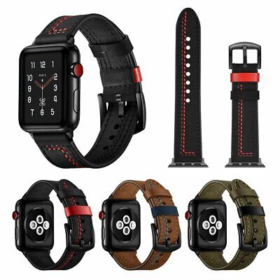AU29.89 • Buy Genuine Leather Wrist Band Strap For Apple Watch All Series IWatch 38/42/40/44mm