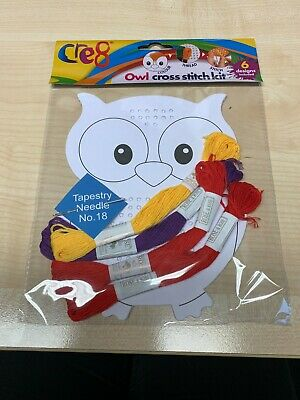 £1.99 • Buy 6 Beginners Cross Stitch Childrens Activity Kit Sewing Colouring Owl