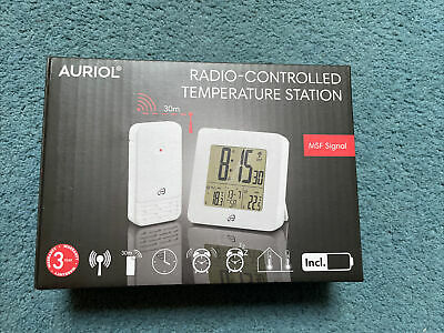 £20 • Buy Auriol Radio Controlled Temperature Station With MSF Signal WHITE Brand New Gift