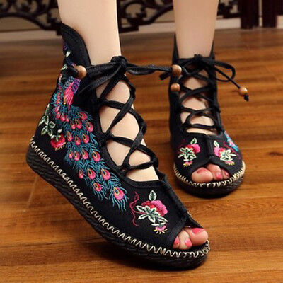 £18.99 • Buy Womens Floral Embroidered Handmade Sandals Slipper Chinese Fashion Flat Shoes