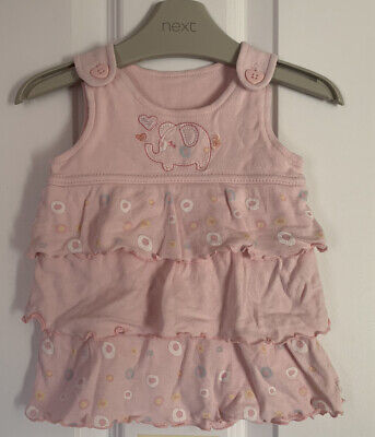 £0.99 • Buy 0-3 Months Pink Ruffle Layer Elephant Dress Baby Girl Retro Pinafore