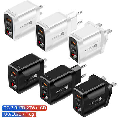 £5.99 • Buy EU/UK/US Plug USB Type C Fast Wall Charger Adapter PD 20W For IPad IPhone 12 Pro