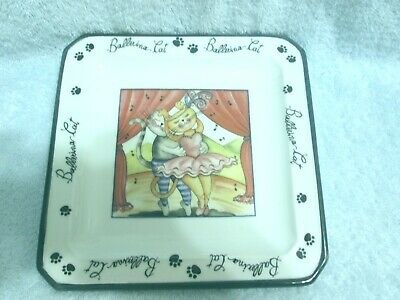£14.02 • Buy Cat Occupation Ballerina Cat Decorative Plate New Made In Italy 6.5  X 6.5