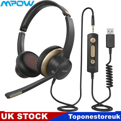 £23.79 • Buy Mpow Computer Headset On Ear USB/3.5mm Headphones For PC Laptop Calling Center
