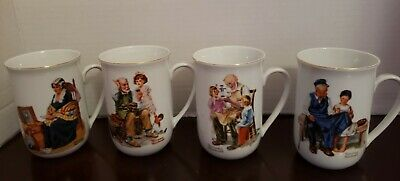 $ CDN20 • Buy Vintage 1982 Norman Rockwell Museum Coffee Mugs Cups Set Of 4 White W/ Gold Trim