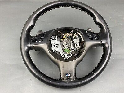 $395 • Buy BMW E46 M3 SMG BLACK LEATHER STEERING WHEEL W/ CONTROLS W/ PADDLES 32342282222