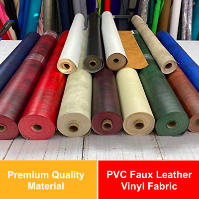 £0.99 • Buy Heavy Duty PVC Faux Leather Vinyl Fabric Upholstery Leatherette Material - 140cm