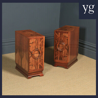£975 • Buy Antique Pair Of Art Deco Burr Walnut Bedside Chests Cabinets Tables Nightstands