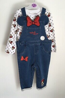 £10 • Buy Primark Minnie Mouse Baby Outfit Size 12-18 Months Top Denim Dungarees BNWT