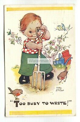 $2.75 • Buy Mabel Lucie Attwell Postcard No. 5316 -  Too Busy To Write! , Gardening, 1950's