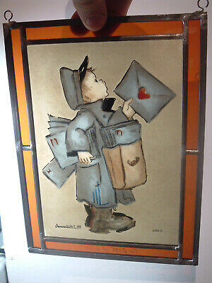 $20 • Buy M.J. Hummel Stained Glass Art Picture Hand Painted Lead Frame Edition Postman