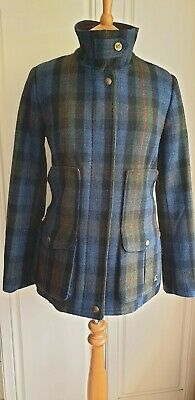 £120 • Buy Joules Women Tweed Country Field Coat Size 14 Blue Green Red Plaid Jacket