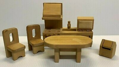 £13.49 • Buy Elc Wooden Dolls House Furniture (kitchen) Cooker Sink Table Chairs M/wave Bin