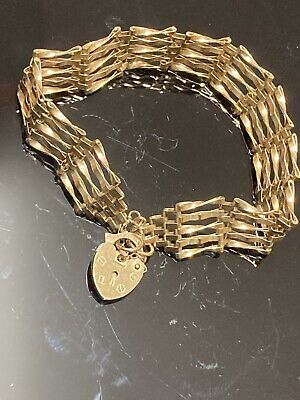 £218 • Buy Vintage 9ct Solid Gold 5 Bar Gate Bracelet With Heart Padlock And Safety Chain .