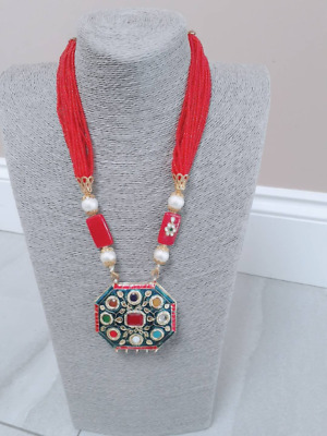 £4.99 • Buy Vintage Antique Necklace With Natural Stones Majestic Reversible Necklace