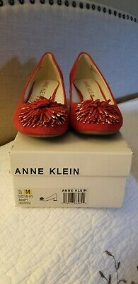 $10 • Buy Anne Klein AKHappy Womens Red Suede Shoes Size 10.5 M