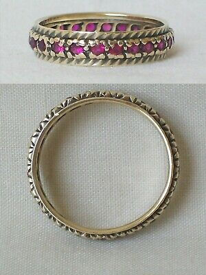 £145 • Buy A Ladies Vintage 9ct 375 Yellow Gold Ruby Full Eternity Ring. Size P . 2.6gm