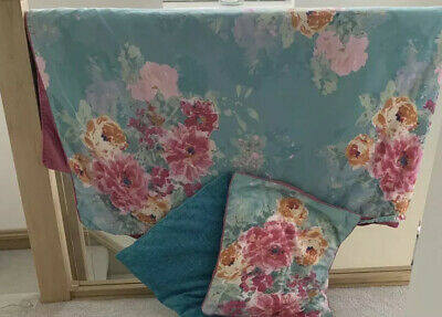 £26.99 • Buy Dunelm Mill Floral Aqua & Pink Floral King Bed Set With Cushions