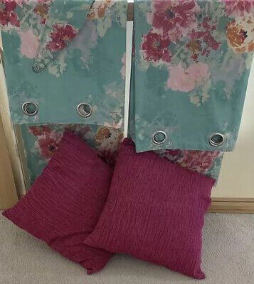 £29 • Buy Dunelm Mill Aqua & Pink Floral Eyelet Curtains, Tie Backs & 2 Free Cushions