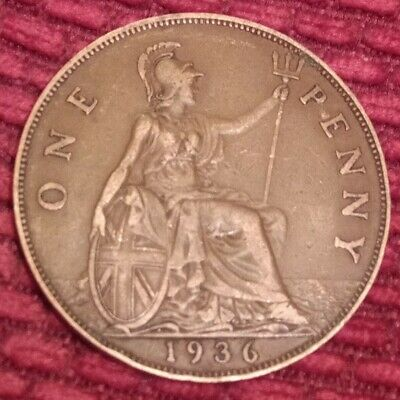 £0.99 • Buy 1936 PENNY - 1d One Penny Coin Britannia - King George V - Pre-decimal Pence (B)