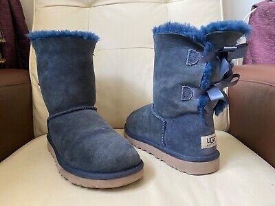 £56.99 • Buy UGG Short Mid Bailey Bow Navy Blue Boots, Uk Size 5.5, EUR 38