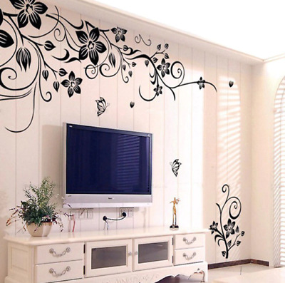 £0.01 • Buy Wall Stickers Fashion Beautiful  Removable Vinyl Flowers Living Room Wall Decor
