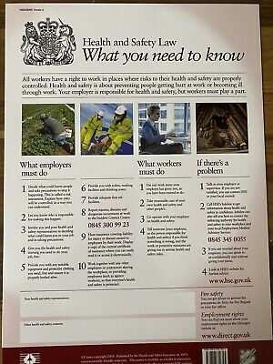£6.99 • Buy HSE Health And Safety UK A4 Poster X5
