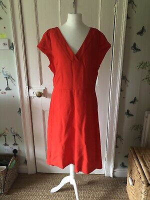 £15 • Buy Captain Tortue Red Coral Spring Summer Dress Linen Look 12 -14 40 New £99