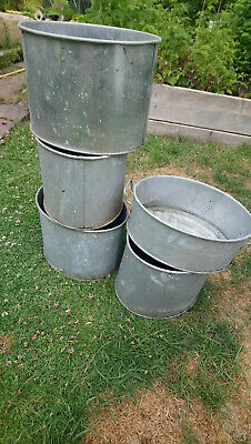 £40 • Buy Galvanised Steel Planters Oval Approx 12.5inch X 10inch. Set Of 5.