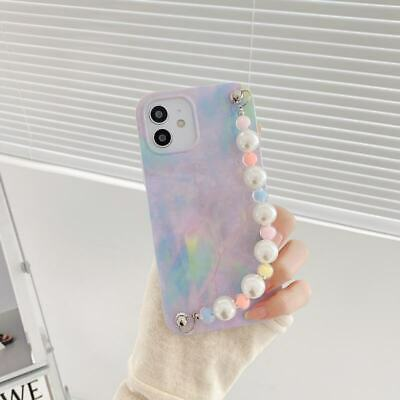AU8.65 • Buy Case For IPhone 7 8 11 12Pro Max XR X Purple Marble Bead Pearl Chain Phone Cover
