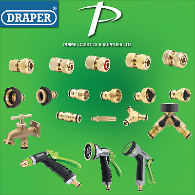 £7.99 • Buy DRAPER TOOLS Brass Hose Pipe Tap Connectors & Fittings - Hozelock Compatible