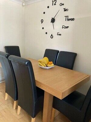 £238 • Buy Dinning Table And 6  Black Leather Chairs 18 Months Old .  Drawers On Both Ends