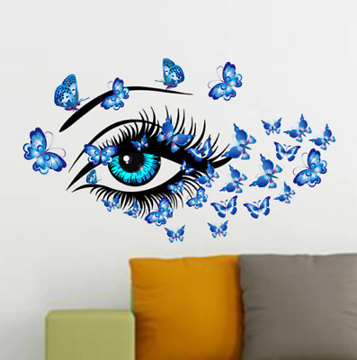£0.01 • Buy Blue Beauty Eyes And Butterflies Wall Sticker Living Room Bedroom Decorations