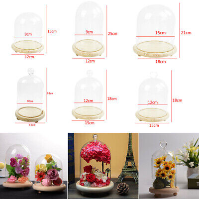 £10.74 • Buy Glass Display Bell Dome Cloche Centerpiece Stands With Base Xmas Gift Desk Decor