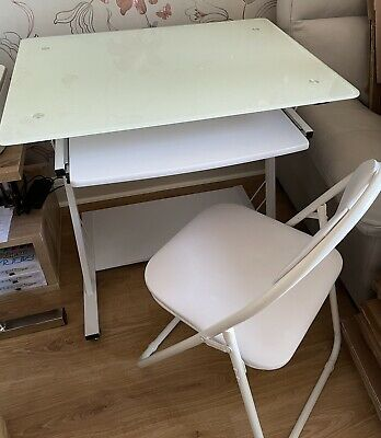 £12.50 • Buy Toughened Glass Computer Table/desk And Folding Chair