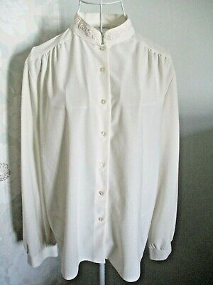 £4.99 • Buy Women's Ivory Long Sleeve Mandarin Collar Vintage Style Blouse Fit Approx 14/16
