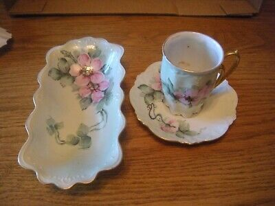 $7 • Buy Vintage M Z Austria Cup And Saucer Demitasse, And Small Bowl Pink, Green, Gold