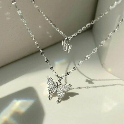 $3.84 • Buy 925 Silver Butterfly Clavicle Chain Women Fashion Pendant Necklace Charm Jewelry