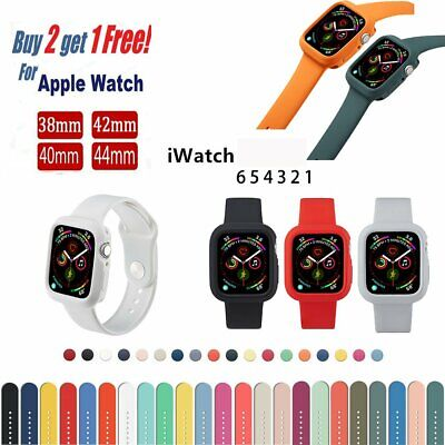 AU9.89 • Buy 38/40mm 42/44mm Silicone+Case Sports Band Strap For Apple Watch Series 6 5 4 3 2