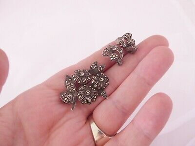 £0.99 • Buy Silver Marcasite Flower Brooch & Matching Clip On Thistle Earrings, Art Deco 925