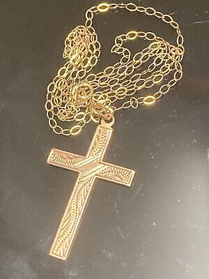 """£86 • Buy Lovely Victorian 9ct GOLD CROSS Necklace Pendant And 18"""" Gold Chain - Crucifix"""